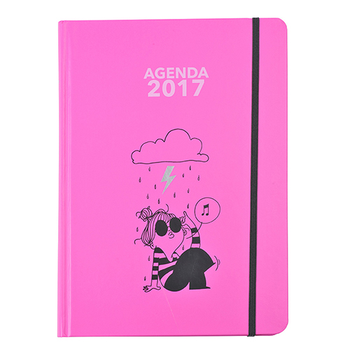 Agenda lomo redondo rosa entera