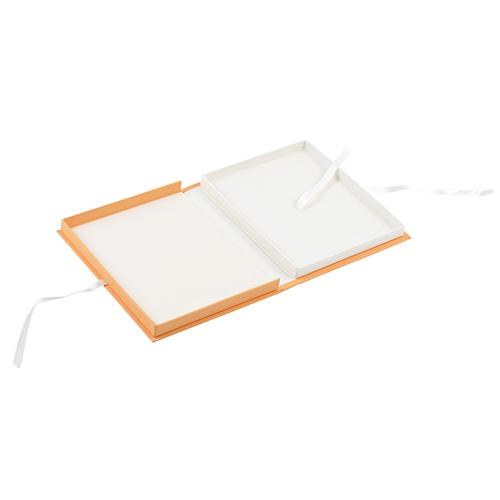 Caja carton forrado naranja abierto