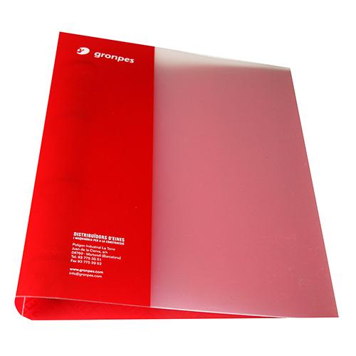 Carpeta polipropileno anillas roja y transparente cerrada