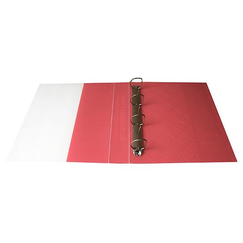 Carpeta polipropileno anillas roja y blanca abierto