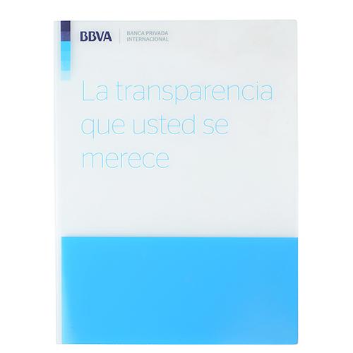 Dossier portadocumentos pvc blanco y azul BBVA