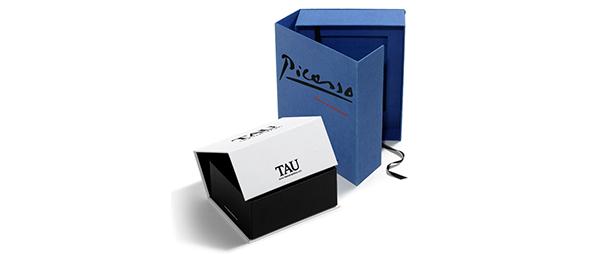 Cajas carton con velcro azul, negra y blanca