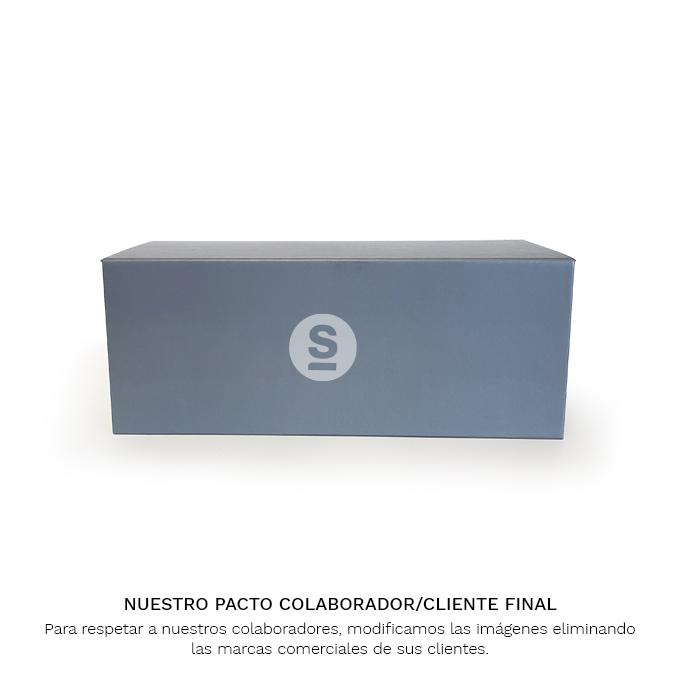 Caja de muestras carton gris lateral